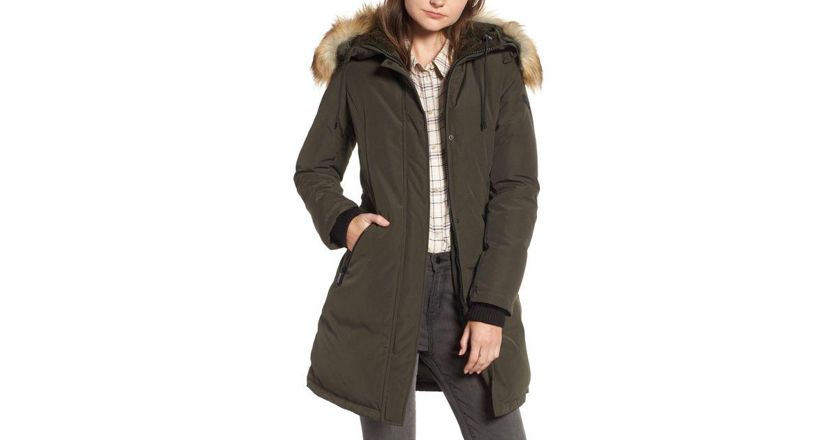 41b7d5c33 Lyst - Sam Edelman Faux Fur Trim Down Jacket in Green