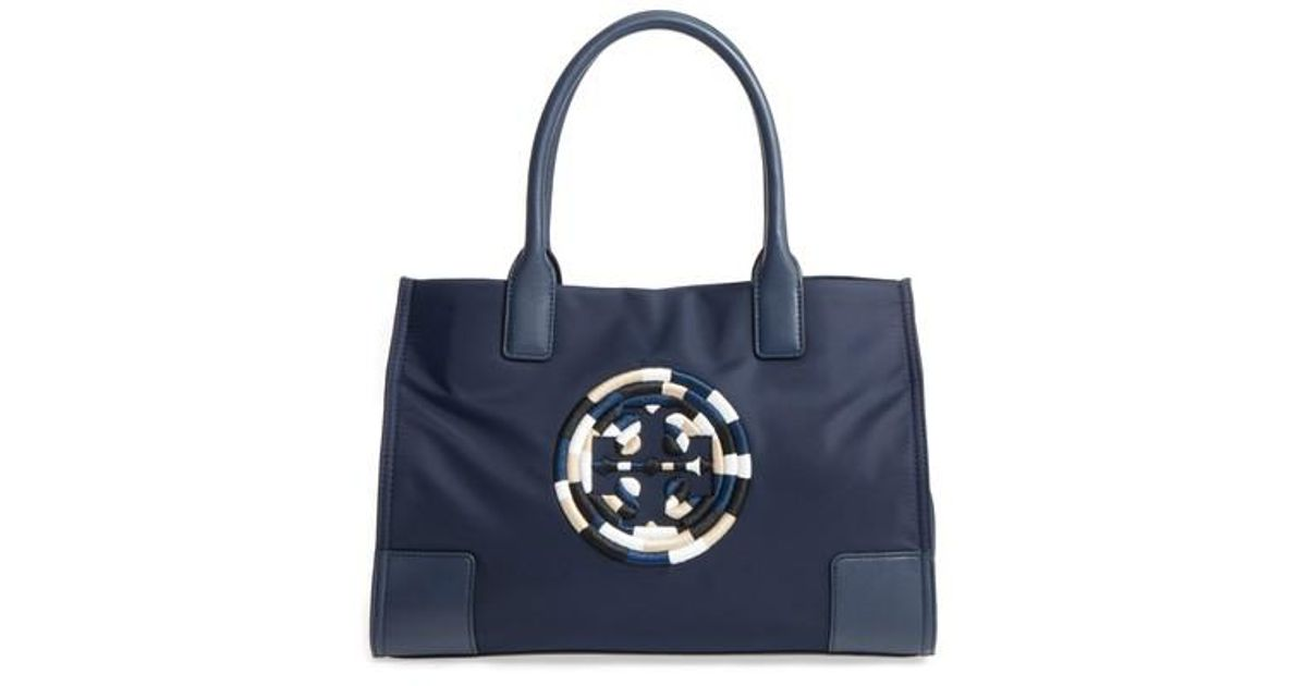 19bf3a9f29d Lyst - Tory Burch Mini Ella Embroidered Logo Nylon Tote in Blue