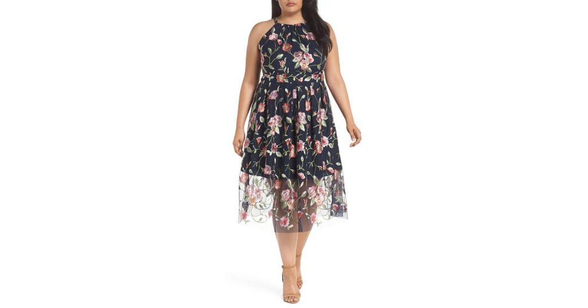 21c58d24493 Lyst - Vince Camuto Floral Embroidered Mesh Midi Halter Dress (plus Size)  in Blue