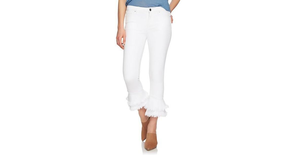 018e14542d0 1.STATE Ruffle Hem Crop Jeans in White - Lyst