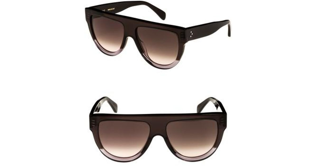 140a4c90cabb Lyst - Céline Special Fit 60mm Flat Top Sunglasses - Dark Grey brown in  Brown