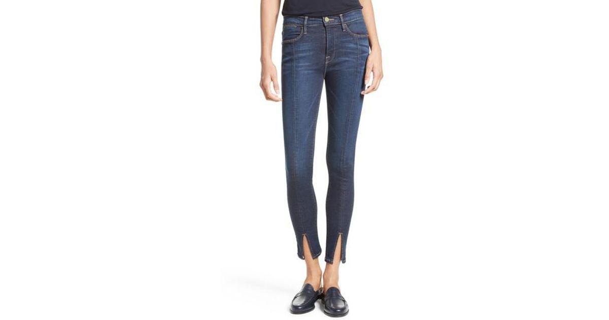 b844178de08e5 Lyst - FRAME Le High Skinny Front Split High Waist Jeans in Blue