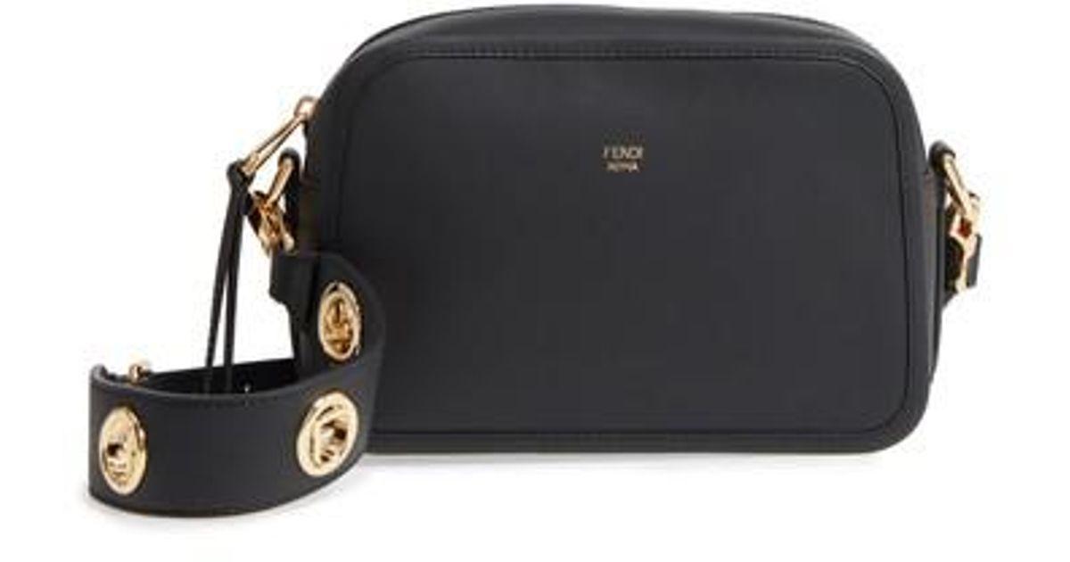 Lyst - Fendi Logo Leather Camera Bag in Black c1f81317fabcc