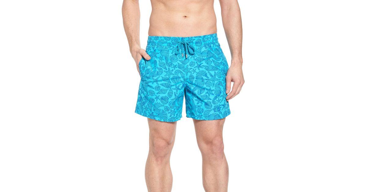e1048b0719 Vilebrequin Seahorse Print Swim Trunks in Blue for Men - Lyst