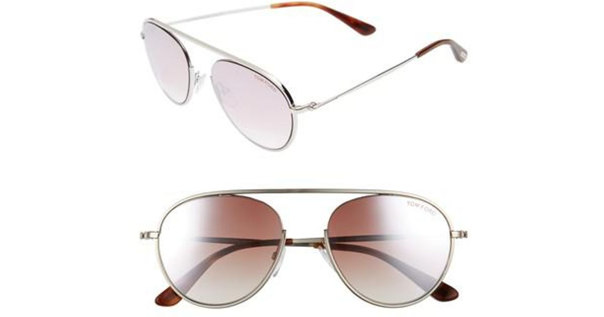 a5aa4cb81fd Lyst - Tom Ford Keith 55mm Metal Aviator Sunglasses - Palladium  Pink   Silver for Men