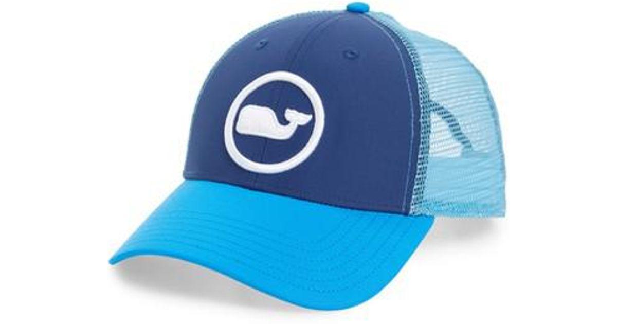 Lyst - Vineyard Vines Whale Dot Trucker Cap in Blue for Men a0c1c61de316