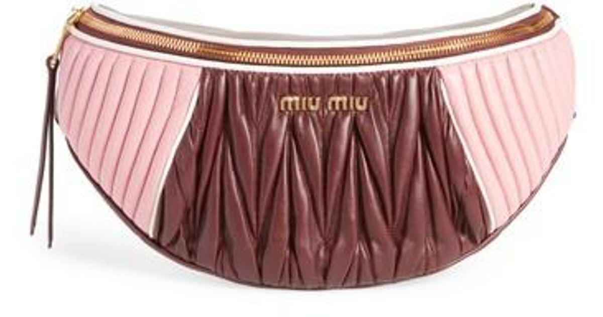 7060c81fff3d Miu Miu Rider Matelasse Leather Belt Bag - Burgundy in Pink - Lyst