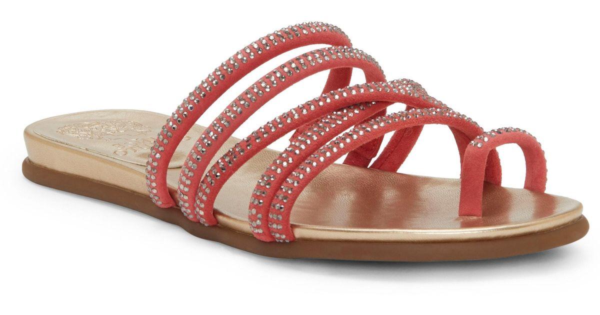 4b203f9f6e55 Lyst - Vince Camuto Ezzina Crystal Embellished Slide Sandal in Pink