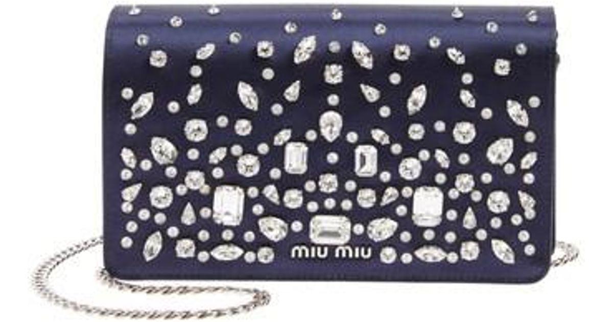 d65ca8b7cf41 Lyst - Miu Miu Swarovski Crystal Embellished Shoulder Bag in Blue