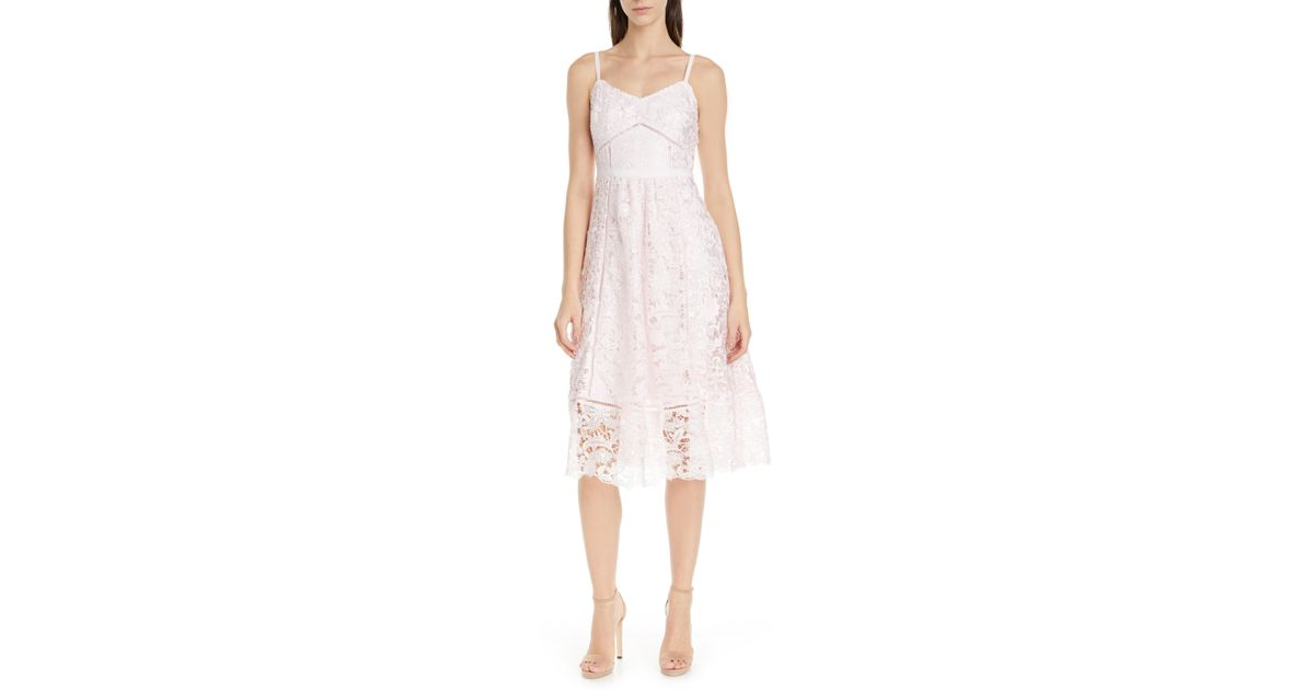 7e6701811 Lyst - Ted Baker Valens Lace Midi Dress in Pink