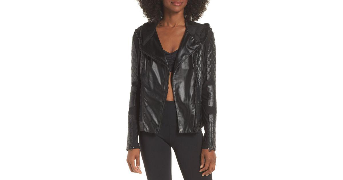 272369ab3bf9 Lyst - BLANC NOIR Voyage Hooded Leather   Mesh Moto Jacket in Black - Save  40%