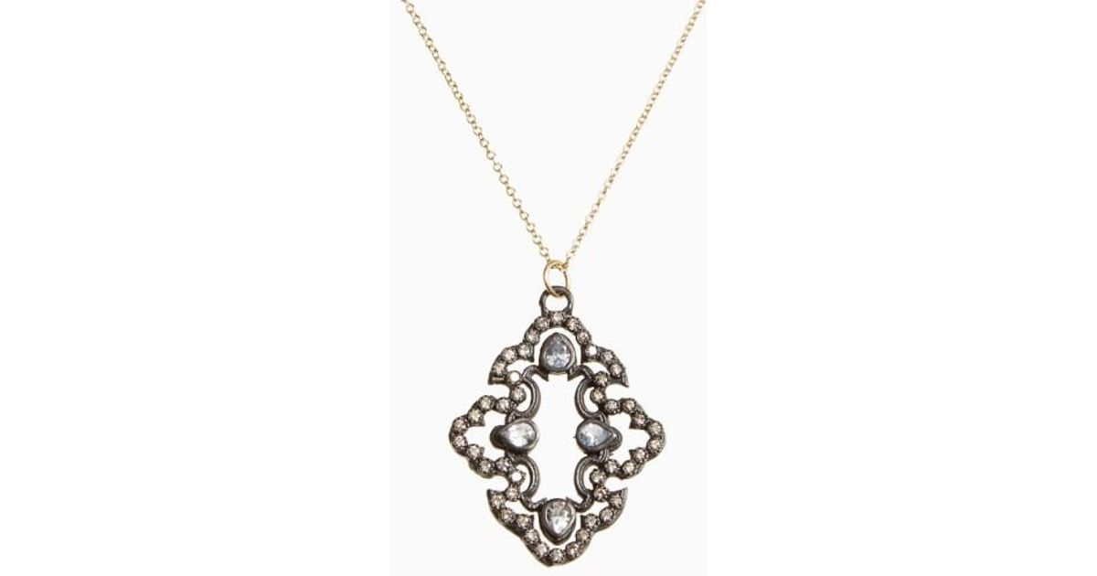 Armenta Old World Midnight Black Sapphire Bar Pendant Necklace