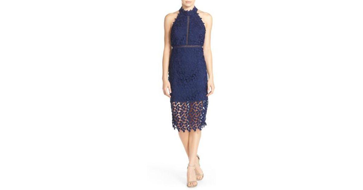 b8ac9e4c Bardot Gemma Halter Lace Sheath Dress in Blue - Lyst