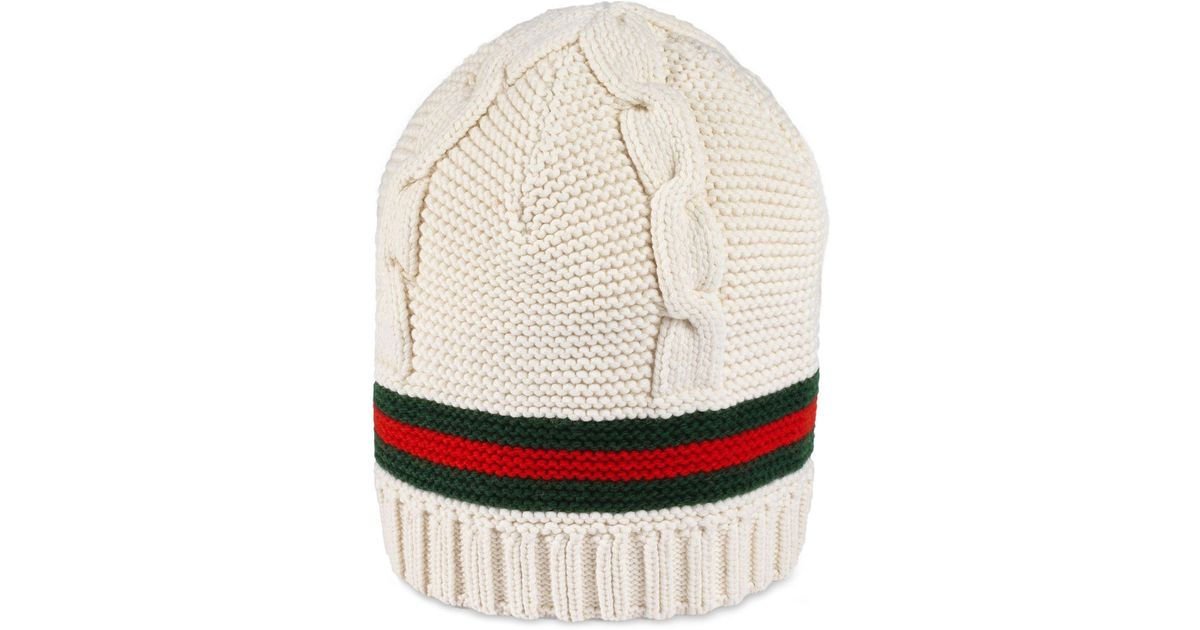 c402f461 Lyst - Gucci Liom Cable Knit Beanie -