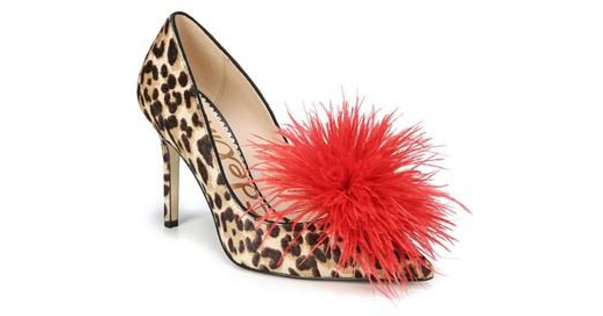 d71366a9e76b Lyst - Sam Edelman Haide Feather Pompom Pump in Red