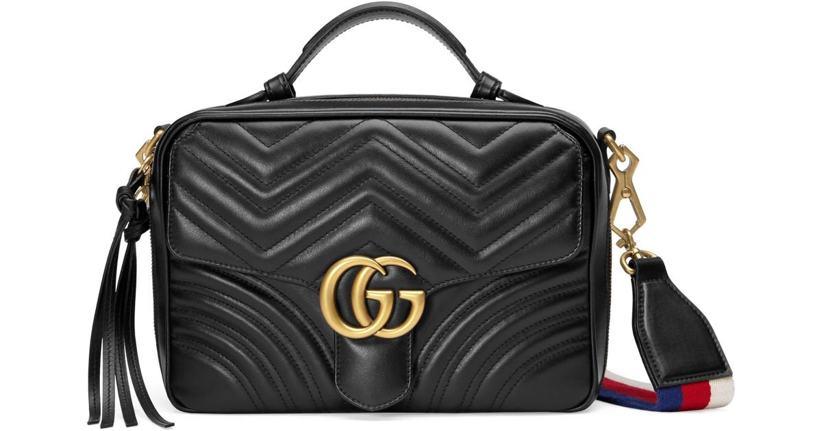 12127f571a95 Gucci Small Gg Marmont 2.0 Matelassé Leather Camera Bag With Webbed Strap -  in Black - Lyst