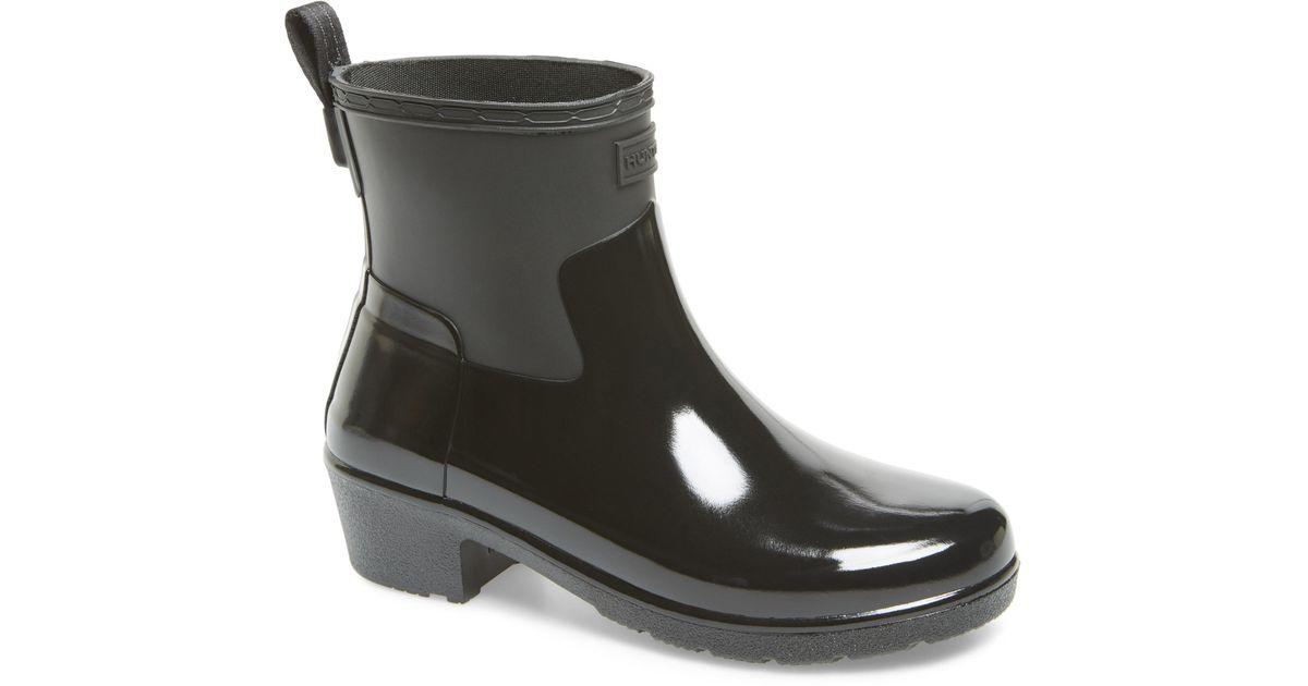 5ba49be84 Lyst - HUNTER Original Refined Mixed Finish Waterproof Rain Boot in Black