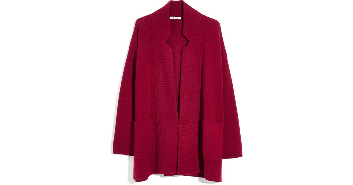 Lyst Madewell Spencer Sweater Coat In Red