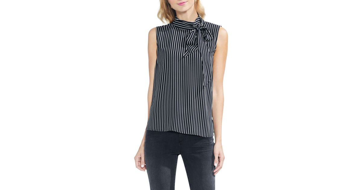0ac703fd6d5f5 Lyst - Vince Camuto Legacy Pinstripe Tie Neck Top in Black