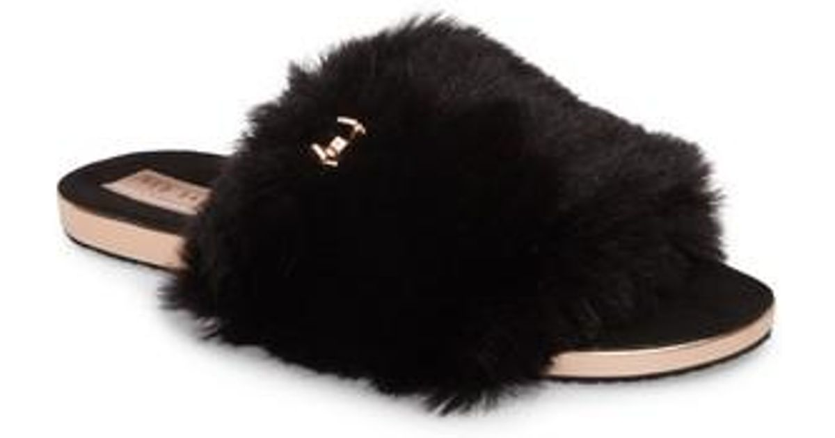 03f8ce363eb63 Lyst - Ted Baker Pancey Faux Fur Slipper in Black