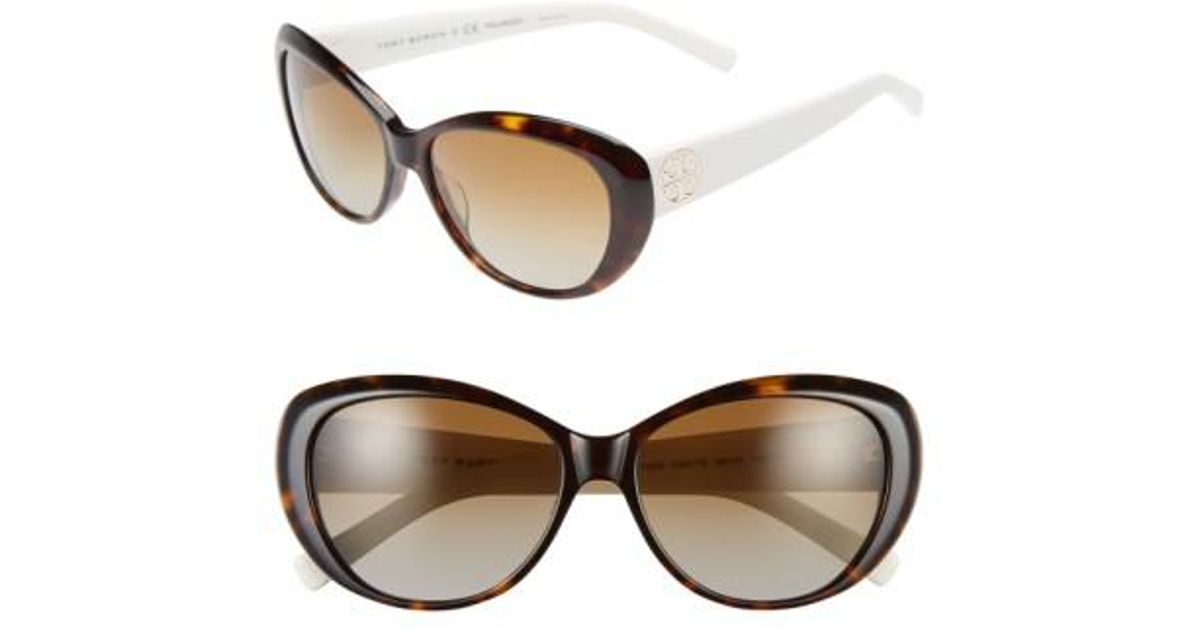 3de4ac0cc8c2 Lyst - Tory Burch 56mm Polarized Cat Eye Sunglasses - Dark Tortoise/ Polar  in Brown