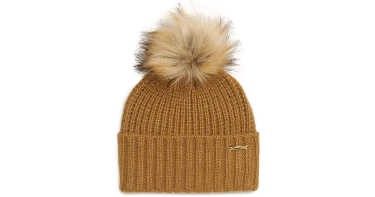 e4eec7436260 Lyst - MICHAEL Michael Kors Thermal Stitch Hat in Brown
