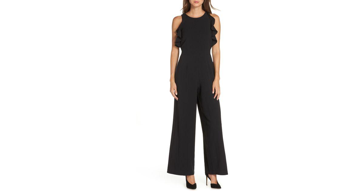 189cee2ecb3329 Lyst - Julia Jordan Crepe Ruffle Trim Wide Leg Jumpsuit in Black