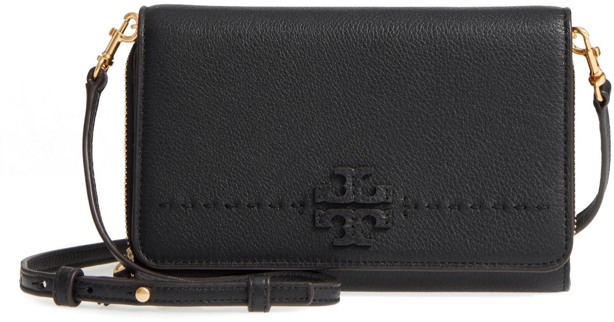 5f199e7afde7 Lyst - Tory Burch Mcgraw Leather Crossbody Wallet - in Black