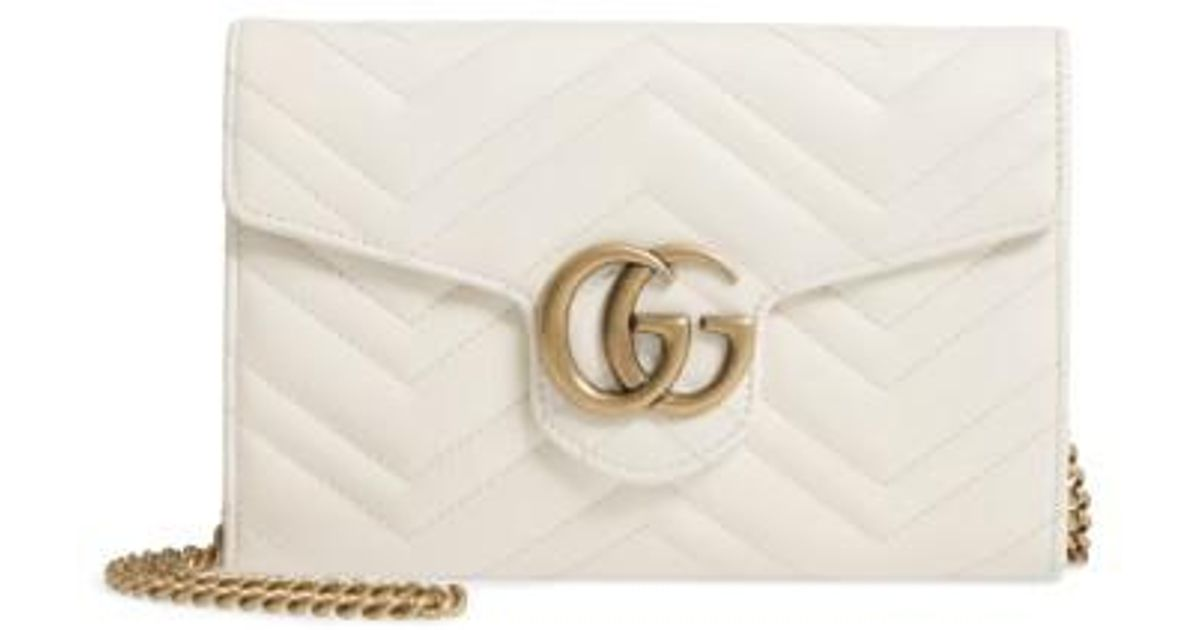 5b2b3bf05eb701 Gucci Gg Marmont 2.0 Matelasse Leather Wallet On A Chain in White - Lyst