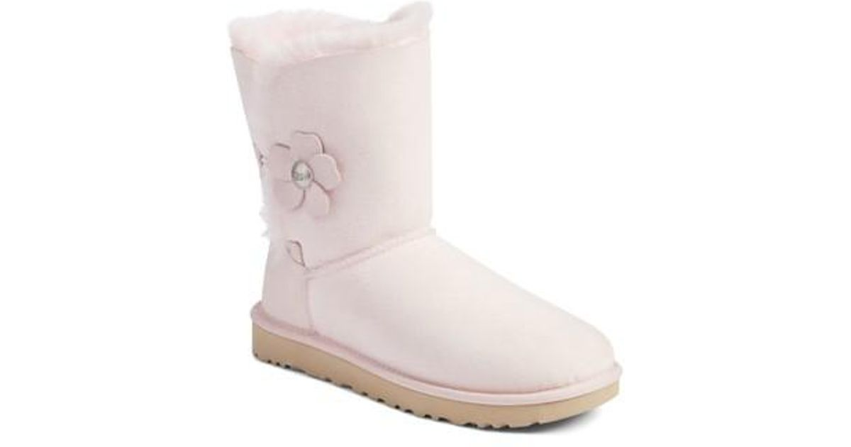 8c91e4e8ab9 ... discount lyst ugg ugg bailey button poppy genuine shearling boot in pink  4bd26 e80bf