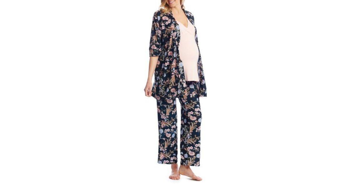 39731d69d258d Lyst - Everly Grey Susan 5-piece Maternity/nursing Pajama Set in Black