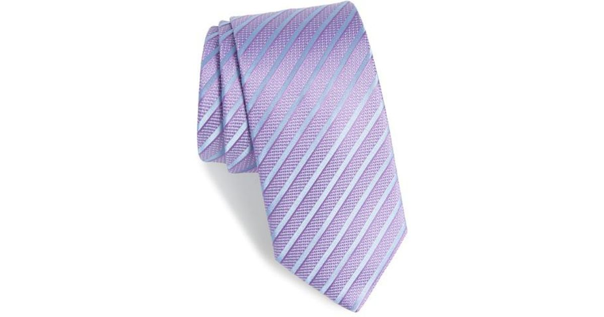 63ce7410a4 ... norway lyst boss hugo stripe silk tie in purple for men 9e231 7b8c3 ...