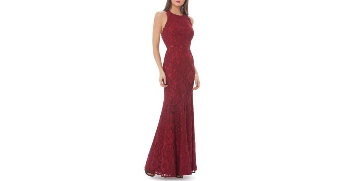 Lyst - Js Collections Corded Floral Lace Mermaid Gown in Red