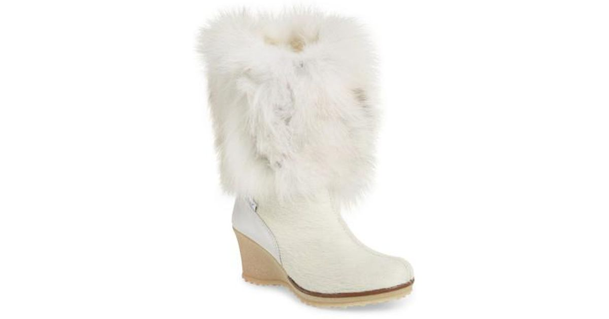 abcddfd4cf2 Lyst - Pajar Angelina Genuine Fox Fur Wedge Boot in White