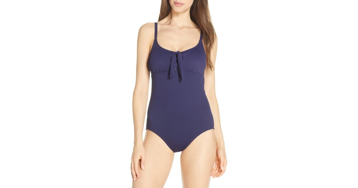 1be2000950 Lyst - Tommy Bahama Lace-up Pique One-piece Swimsuit in Blue