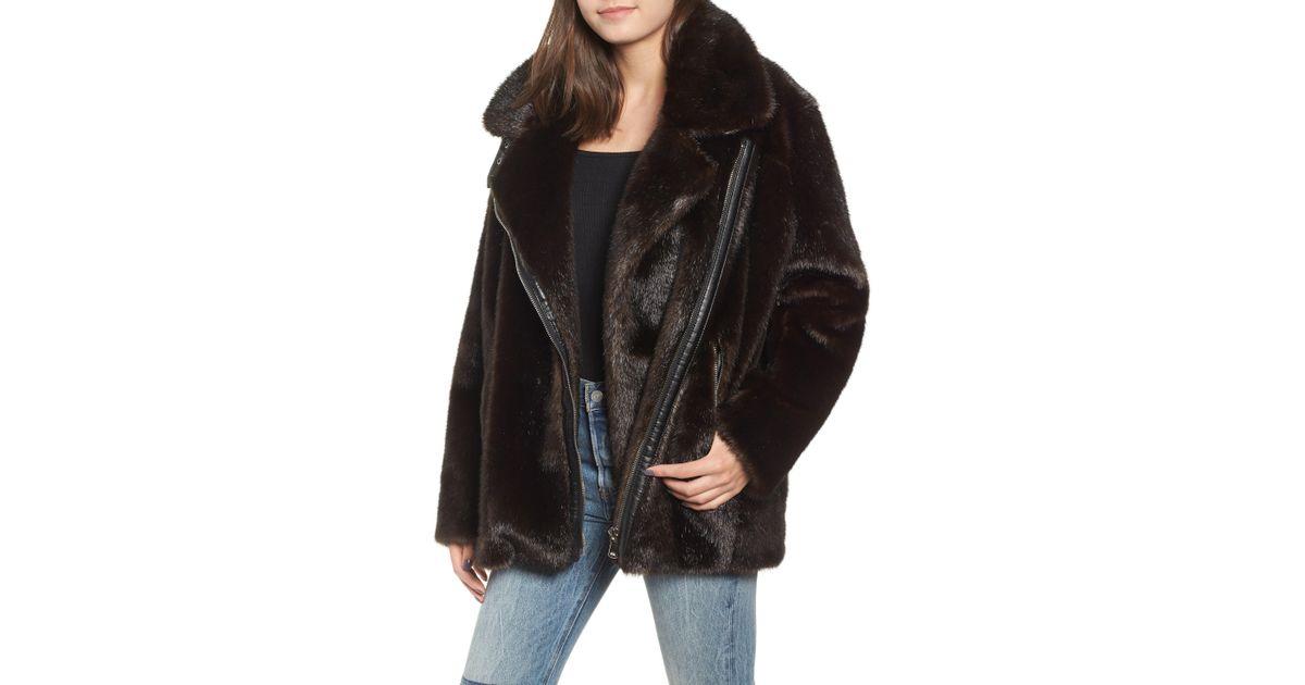 c35fe967ee8 Kendall + Kylie Oversize Faux Mink Fur Moto Jacket in Brown - Lyst