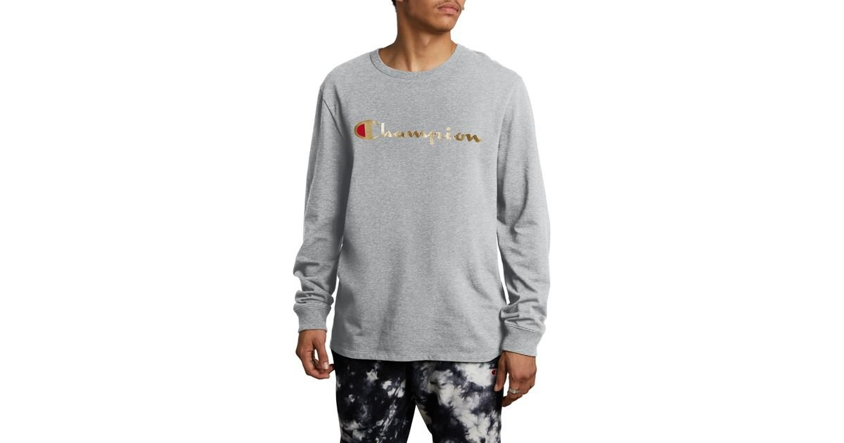 f02a6d7f Lyst - Champion Gold Script Logo Long Sleeve T-shirt in Gray for Men
