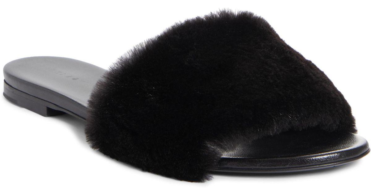 7688667cdff Lyst - Jenni Kayne Genuine Mink Fur Slide Sandal in Black