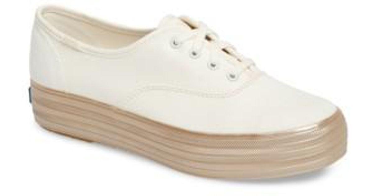 2376ef4dea1 Lyst - Keds Keds Triple Shimmer Platform Sneaker in White