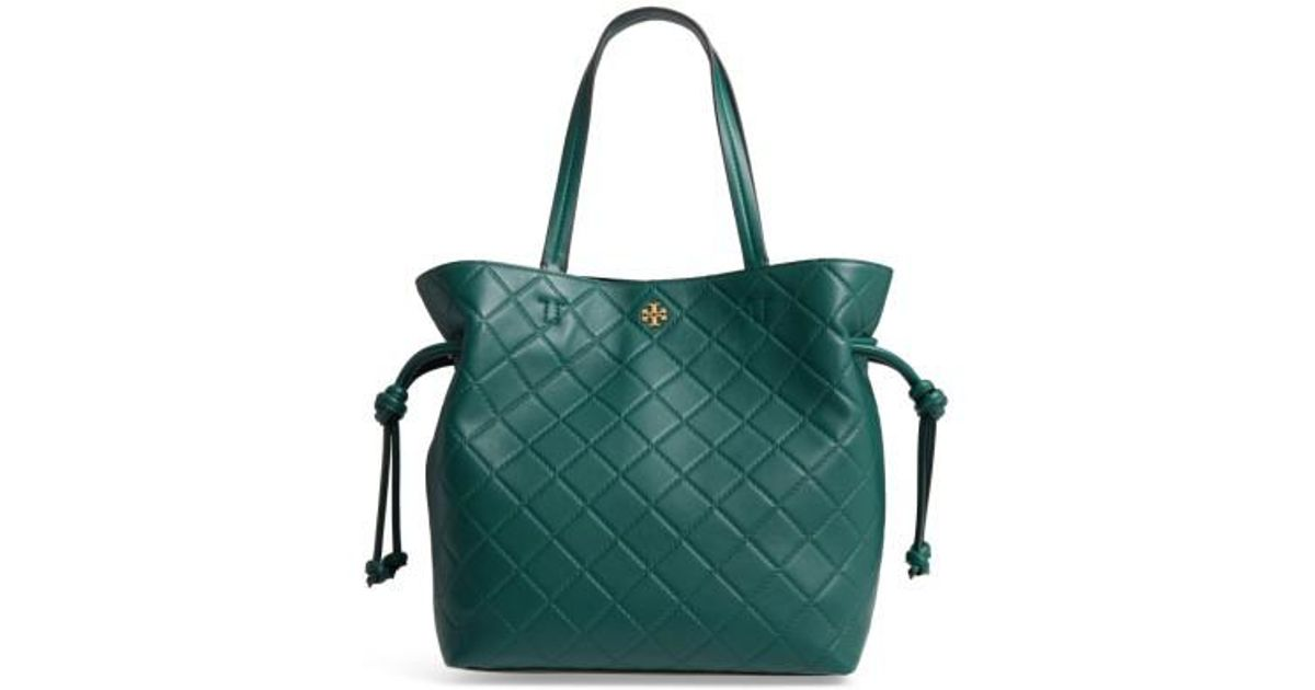 5bef2395c37 Lyst - Tory Burch Georgia Slouchy Quilted Leather Tote in Green