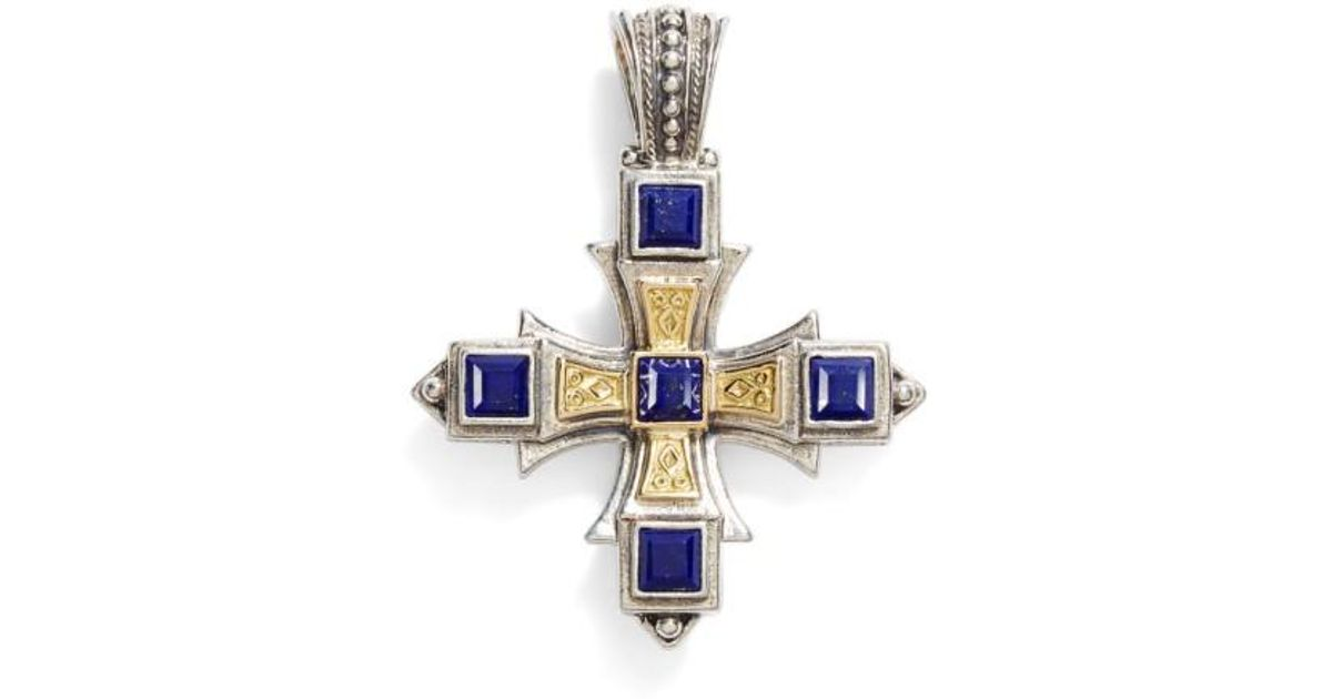 Lyst konstantino orpheus square semiprecious stone cross pendant aloadofball Image collections