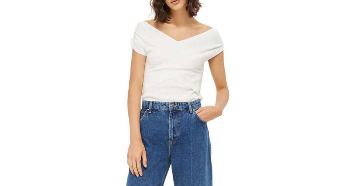 b15f673e0be26 Lyst - TOPSHOP Ruched Shoulder Bardot Top in White