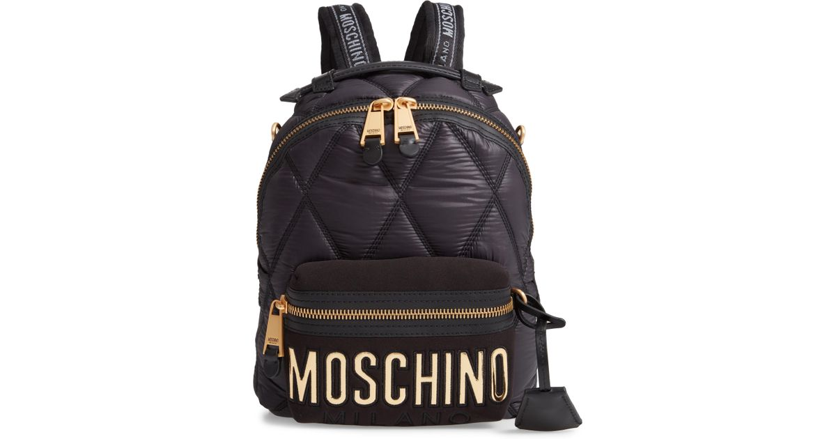 Lyst - Moschino Large Quilted Logo Backpack in Black - Save 56% 2ca131e6fb432
