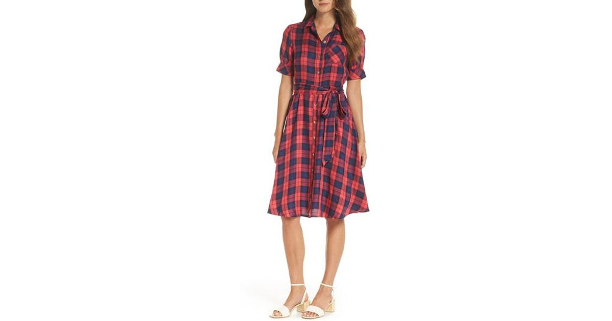 87cb0e81c62 Lyst - Nordstrom 1901 Plaid Shirtdress in Red