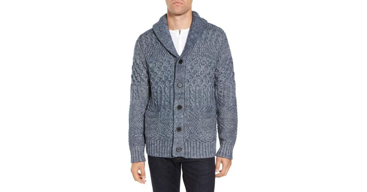 918d666f152b3 Lyst - Schott Nyc Cable Knit Cardigan in Blue for Men