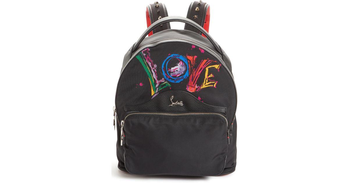 aa652501ca7e Lyst - Christian Louboutin Small Backloubi Love Nylon Backpack in Black