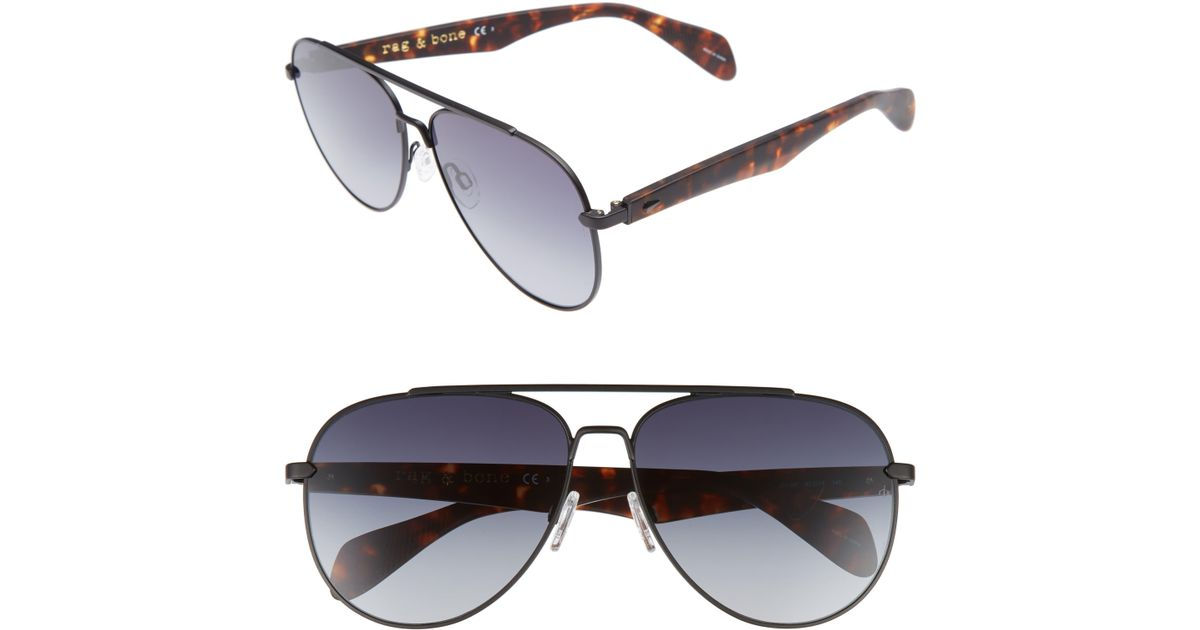 dcea44b096f9 Rag & Bone 62mm Aviator Sunglasses in Black for Men - Lyst