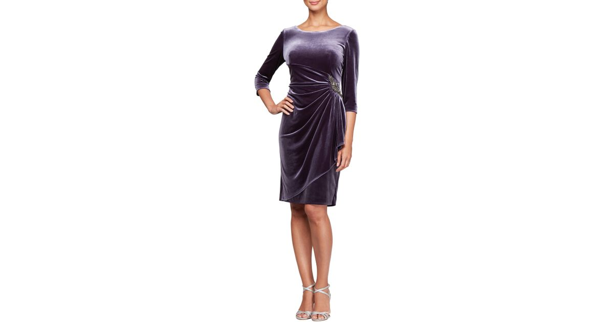 6d7825329ee Lyst - Alex Evenings Velvet Embellished Sheath Dress in Purple - Save  40.25157232704402%
