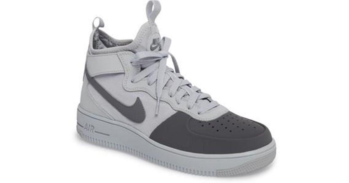 Lyst - Nike Air Force 1 Ultraforce Mid Tech Sneaker in Gray for Men 8a9d7443c