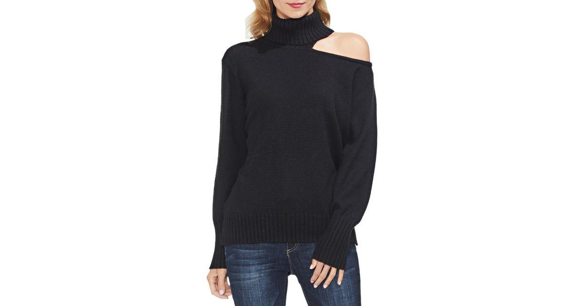1602c6f585a2 Lyst - Vince Camuto Asymmetrical Shoulder Cutout Turtleneck Cotton Blend  Sweater in Black